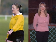 on the left, as a rugby referee, and on the right, shortly after reaching her weight loss goal.